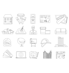 Architecture and Construction line icons set vector image