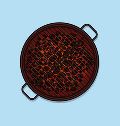 Bbq grill top view vector