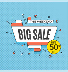 big sale retro design element in pop art style on vector image vector image