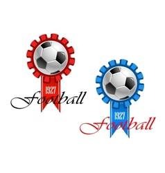 Blue and red crests of football vector