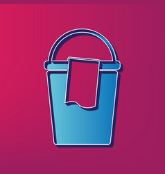 Bucket and a rag sign blue 3d printed vector