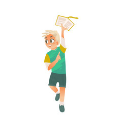 cartoon boy holding open book above head vector image
