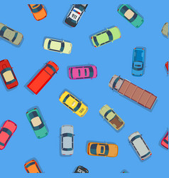 cartoon style cars on blue background vector image vector image