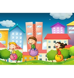 Children and city vector image