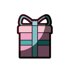 Colorful gift box with decorative ribbon in cross vector