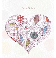 doodles with heart made of floral vector image vector image