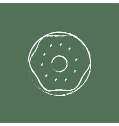 Doughnut icon drawn in chalk vector