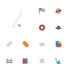 flat icons sausage america metropolis and other vector image vector image