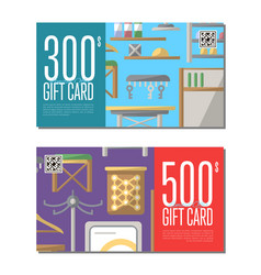Gift card set for corridor furniture vector