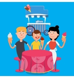 Happy family eating ice cream family weekend vector