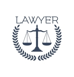 Lawyer icon justice scales laurel wreath emblem vector image