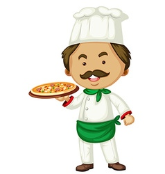 Male chef and italian pizza vector