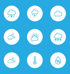 Meteorology outlines set collection of lightning vector