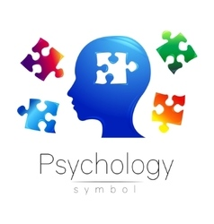 Modern head Logo sign of Psychology Puzzle vector image vector image