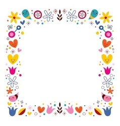 Nature love harmony flowers abstract art frame vector