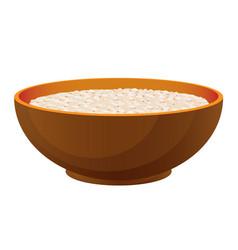 Porridge with milk healthy organic breakfast in vector