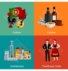 Portugal 2x2 Flat Icons Set vector image vector image
