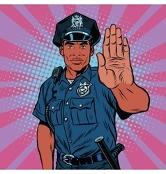 Retro police officer stop gesture vector