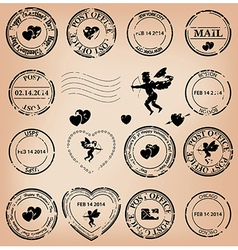 Romantic grungy post stamps for valentine day vector