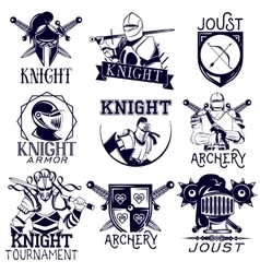set of heraldic knight labels in vintage vector image vector image