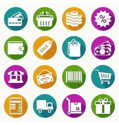 Set of shopping icons in flat style vector image vector image