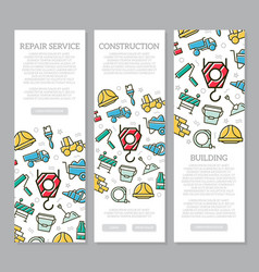 set of three digital construction vertical banners vector image vector image