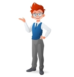Smart little boy with glasses and finger point up vector image vector image