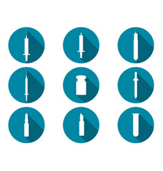 Syringe and vials flat icons with long shadow vector