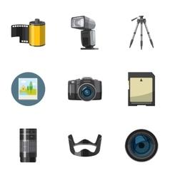 Taking photo icons set cartoon style vector