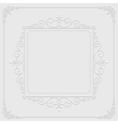 Vintage ornament from cut paper and shadow border vector image
