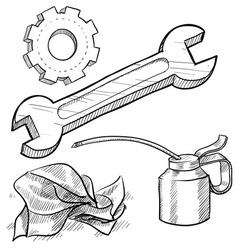 Doodle mechanic wrench oil rag gear vector