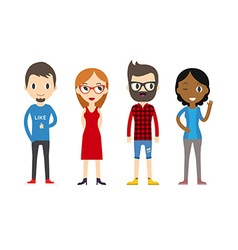 Diverse people set men and women different poses vector