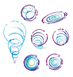 Collection of signs bubbles spiral handmade vector