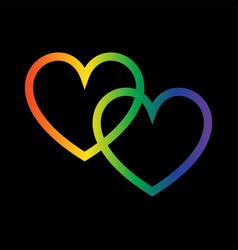 Overlapping gradient rainbow hearts on black vector