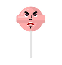 Lollipop angry emoji candy on stick aggressive vector