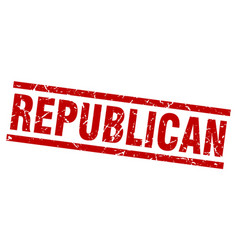 Square grunge red republican stamp vector