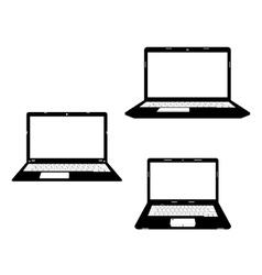 Laptops black icon vector
