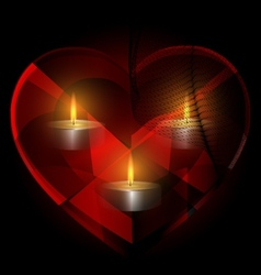 heart-crystal and candles vector image