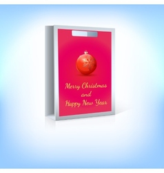 Paper bag red Christmas ball with greeting vector image