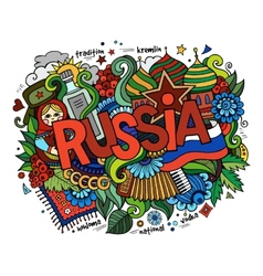 Russia hand lettering and doodles elements vector image