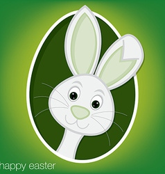 Easter bunny and egg card in format vector
