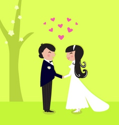 Outdoor wedding couple vector
