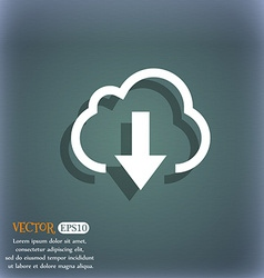 Download from cloud icon symbol on the blue-green vector