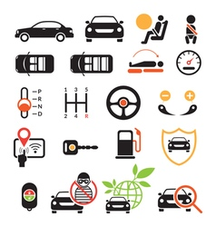 Car specification and performance objects icons vector