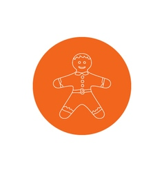 Linear icon of a gingerbread man vector