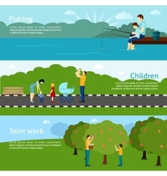 Fatherhood horizontal banners set vector
