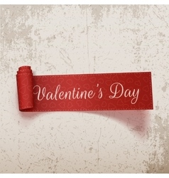 Valentines day realistic scroll textile ribbon vector