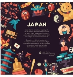Flat design japan travel postcard with landmarks vector
