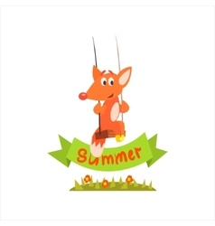 Fox swinging with summer banner vector