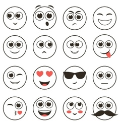 set of smiley faces isolated on white vector image